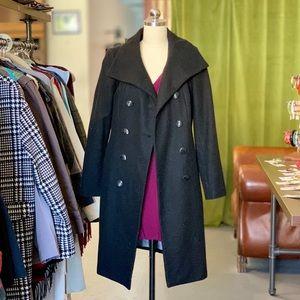Calvin Klein Black Wool Pea Coat